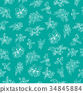 Floral pattern, white flowers on turquoise 34845884