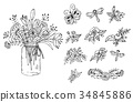 Bouquet of flowers in the vase. Floral elements on 34845886