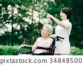 老人 轮椅 护理员 34848500