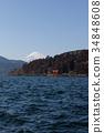 從蘆之湖看見的富士山和箱根神社水下牌坊 34848608