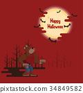 Halloween werewolf howling under the moon 34849582