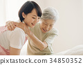 Care worker and senior visiting nursing home care 34850352