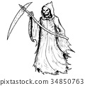 Hand Drawing Illustration of Halloween Grim Reaper 34850763