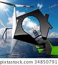 House with Solar Panel Wind Turbines Power Line 34850791