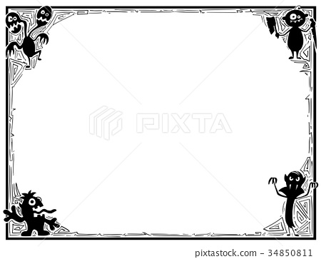 Halloween Frame With Monster Silhouettes 34850811