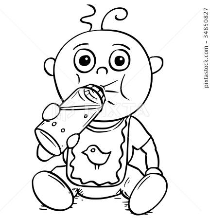 Cartoon Illustration of Baby Drinking from Feeding 34850827
