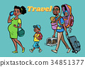 African family travelers, mom dad and kids 34851377