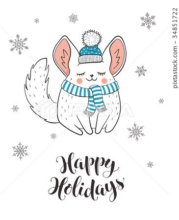 Cute holidays greeting card 34851722
