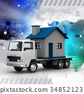 Truck carrying the home 34852123