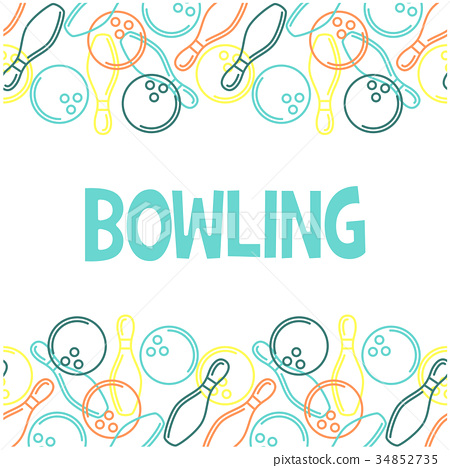 Seamless bowling pattern with outline of skittles  34852735
