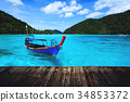 Tourist long tail boat on the sea at Surin island 34853372