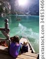 lake, boat, pier 34853466