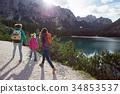 lake, people, hiking 34853537