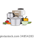 Kitchen and food preparing topic. 34854283