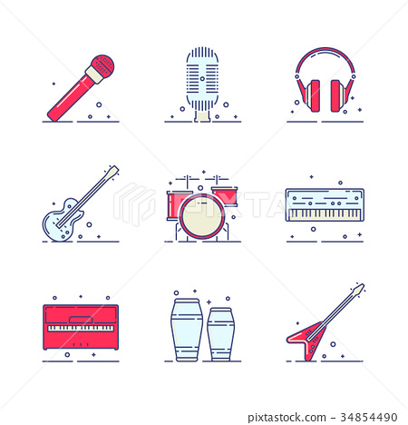 Musical instruments icons 34854490