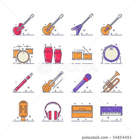Musical instruments icons 34854491