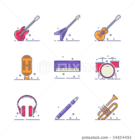 Musical instruments icons 34854492