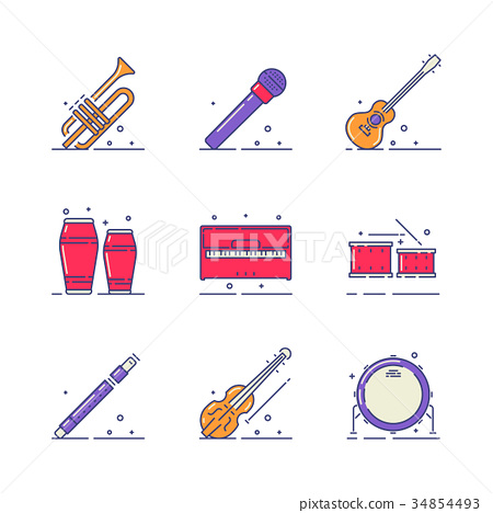 Musical instruments icons 34854493