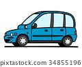 意大利無蓋貨車藍色汽車例證 34855196