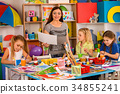 Children painting and drawing together. Craft 34855241