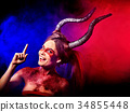 Mad satan woman aggressive cry in hell . Witch 34855448