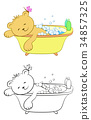 Teddy Bear Washes in the Bath 34857325