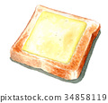 Cheese toast painted by watercolor 34858119