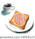 水彩畫 早餐 麵包房 34858123