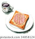 水彩畫 早餐 麵包房 34858124