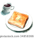 Butter toast and coffee painted by watercolor 34858366