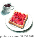 Watercolor toast with jam and coffee 34858368