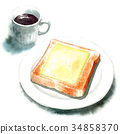 Watercolor cheese toast and coffee 34858370