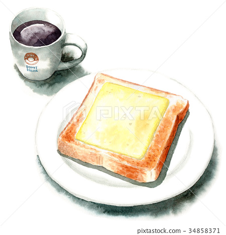 Watercolor cheese toast and coffee 34858371
