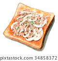 水彩画 早餐 面包房 34858372