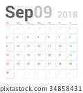 Calendar Planner for September 2018 Vector Design 34858431