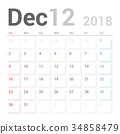 Calendar Planner for December 2018 Vector Design 34858479