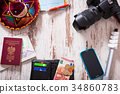 Travel background with accessories 34860783