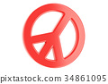 Peace symbol, pacifism sign. 3D rendering 34861095