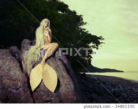 Beautiful mermaid sitting on rock 34861330