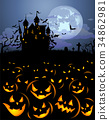 Halloween background with scary pumpkins and 34862981