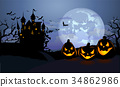 Halloween background with scary pumpkins and 34862986