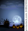 Halloween background with Dracula castle 34862990