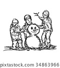 mother and two children building snowman 34863966