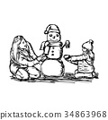 Happy mother and her daughter building snowman 34863968