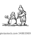 happy child building snowman outside in winter  34863969