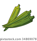 Okra, Ladys Finger Cartoon - Vector Illustration 34869078