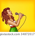 Singing young woman with microphone pop art vector 34872017