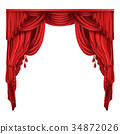 red, curtain, realistic 34872026