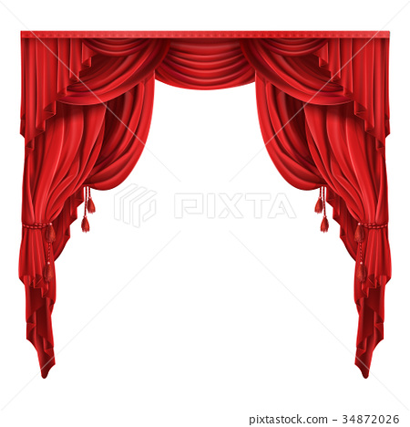 Theater stage red curtains realistic vector 34872026
