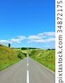blue sky, hokkaido, road 34872175